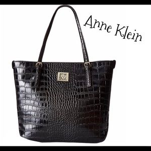 Anne Klein black large croc print tote